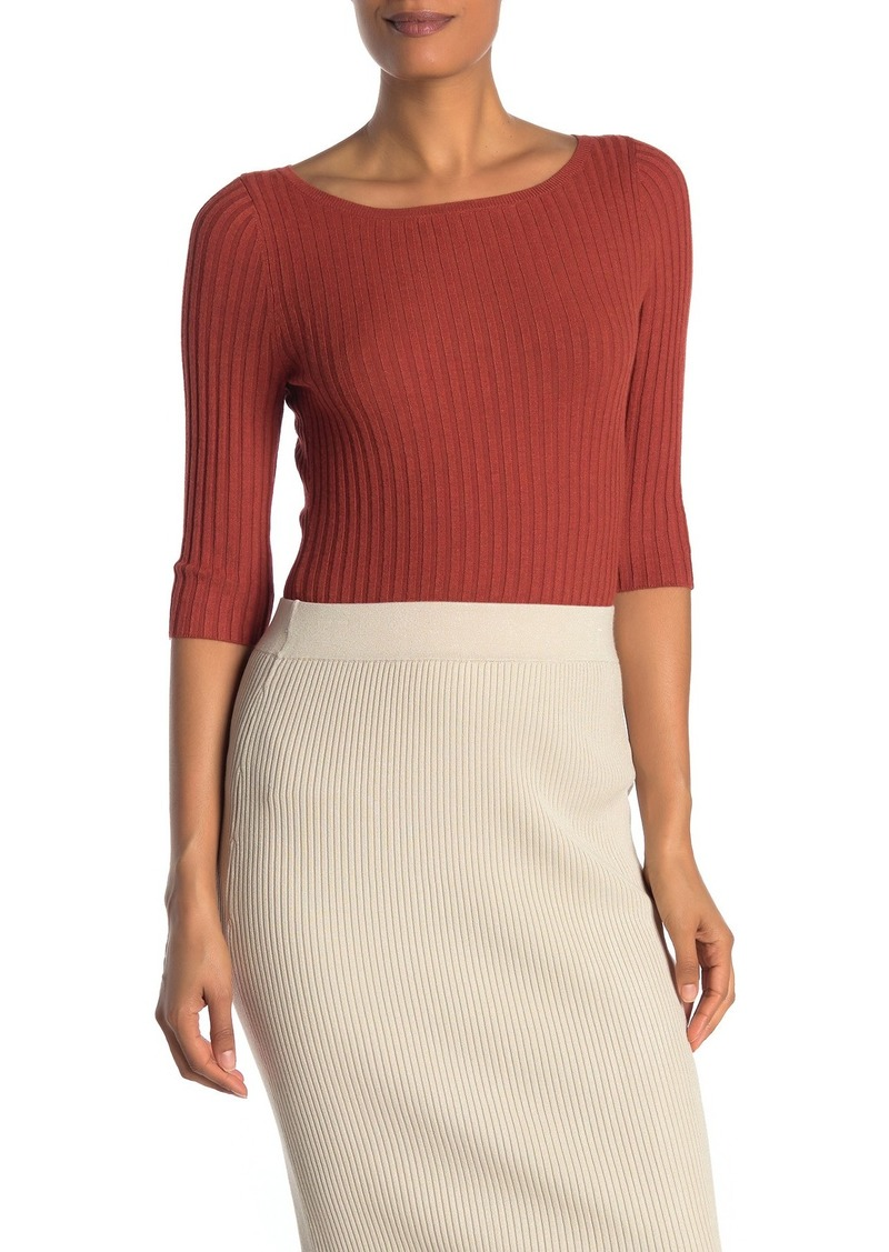 525 America Solid Boatneck 3/4 Sleeve Rib Knit Top
