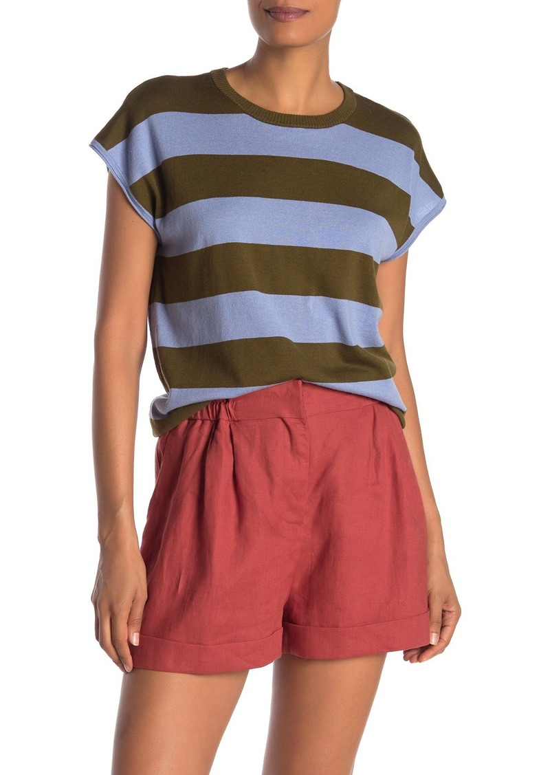 525 America Striped Cap Sleeve Knit Top