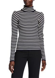 525 America Striped Puff-Sleeve Turtleneck Sweater