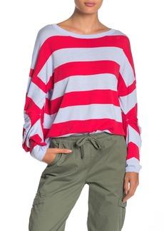 525 America Striped Twist Sleeve Dolman Sweater
