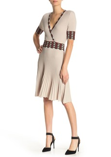 525 America Surplice Neck Pleated Dress