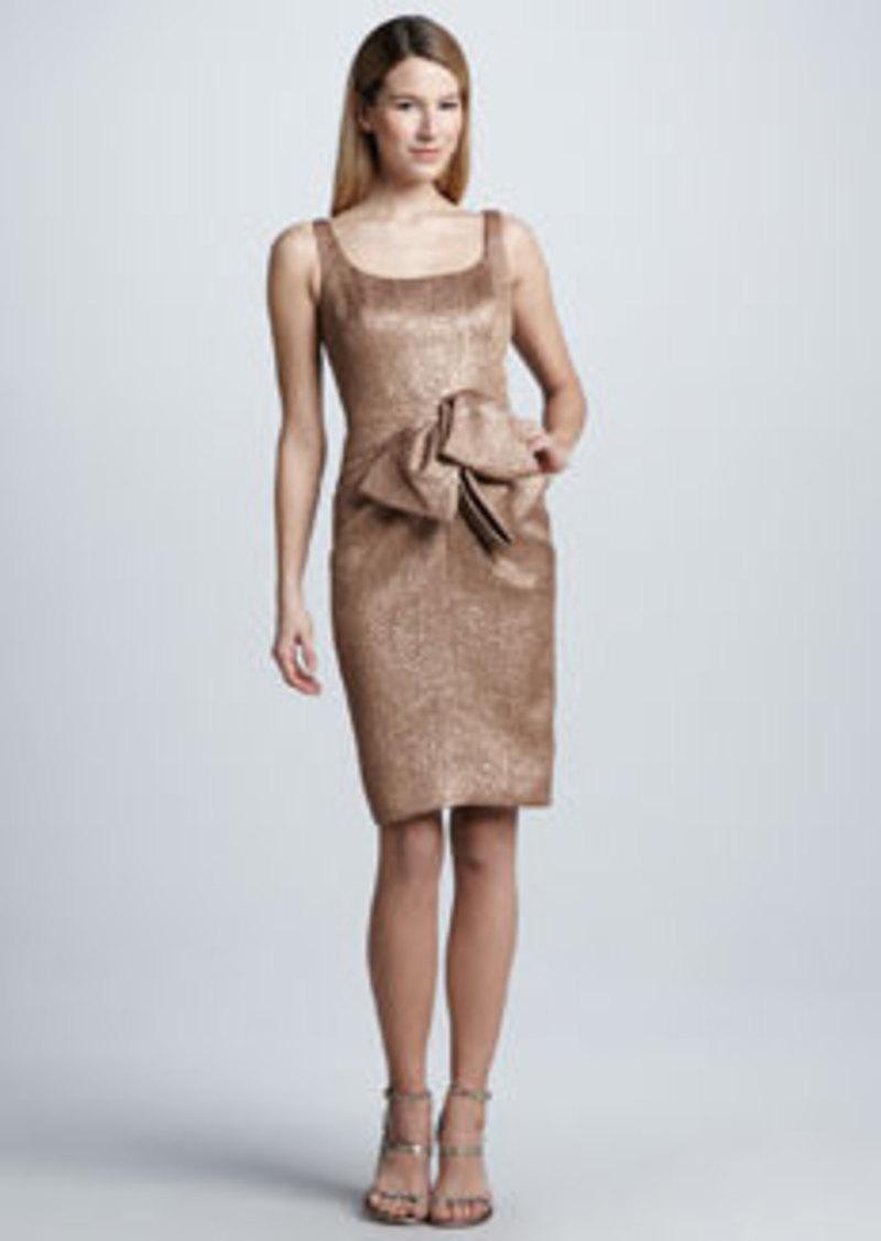 Carmen Marc Valvo Metallic Bow-Waist Cocktail Dress