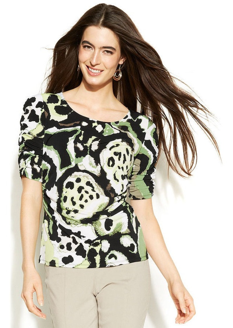 Alfani Petite Elbow-Sleeve Printed Ruched Top