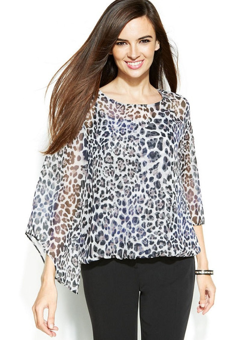 Alfani Petite Angel-Sleeve Animal-Print Blouse