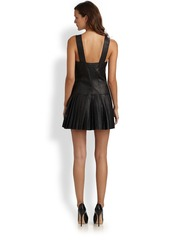Catherine Malandrino Pleated Leather Jumper Dress