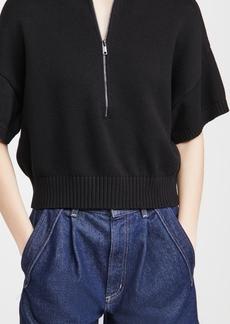 575 Denim 525 Collared Zip Up Short Sleeve Sweater