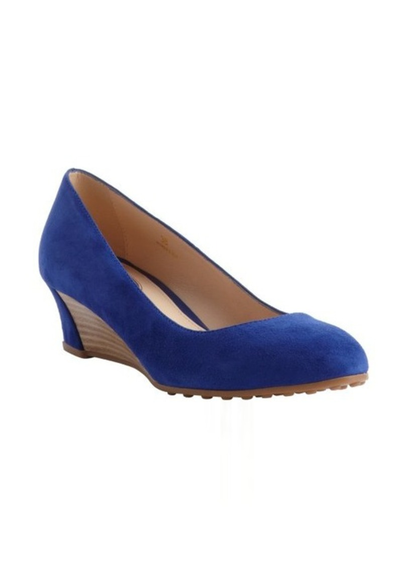 Tod's blue suede wedge heel pumps
