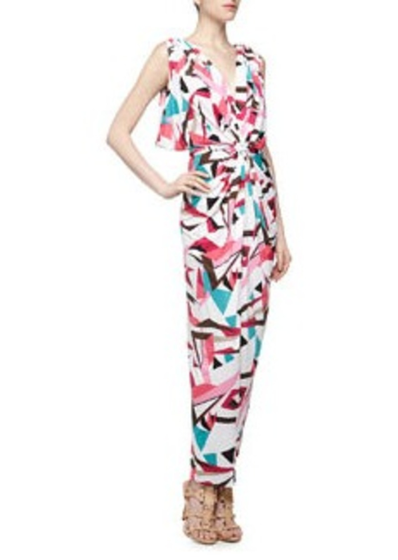 T-Bags T Bags Knot-Front V Back Geometric Print Maxi Dress, Multi Color