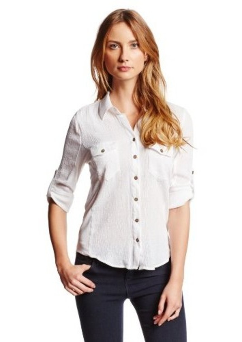 Democracy democracy women 39 s gauze button down shirt with for Gauze button down shirt