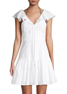 6 Shore Road Ruffled Cotton Mini A-Line Dress