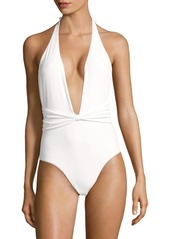 6 Shore Road The Sea Solid Halterneck One-Piece Swimsuit