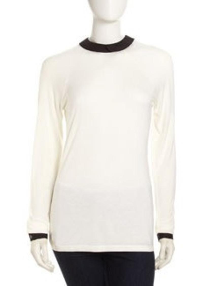 L.A.M.B. Peter Pan-Collar Tee Shirt, Ivory-Black