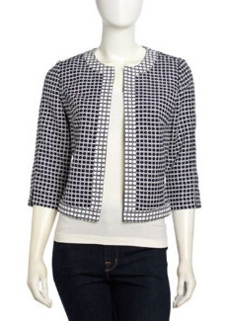Laundry by Shelli Segal Three-Quarter-Sleeve Clover Pattern Jacquard Jacket, Inkblot