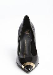 Giuseppe Zanotti black suede pointed cap toe pumps