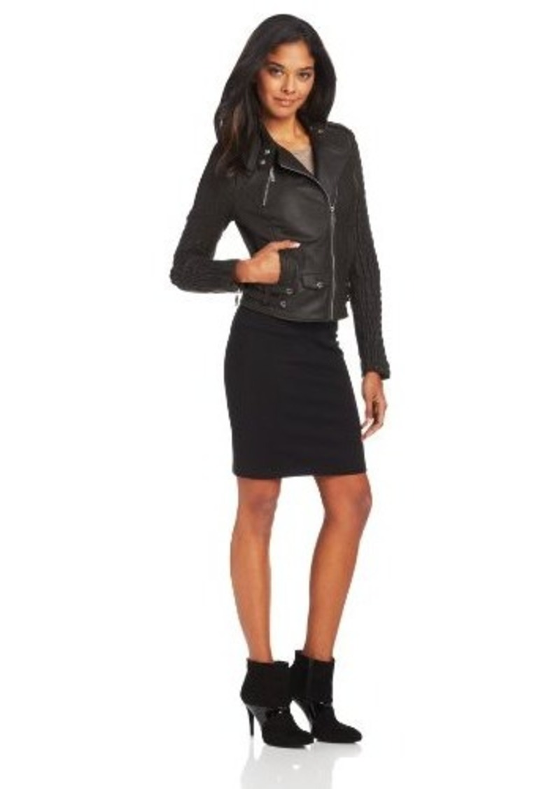 Kenneth Cole New York Women's Rouched Hipster Leather Jacket