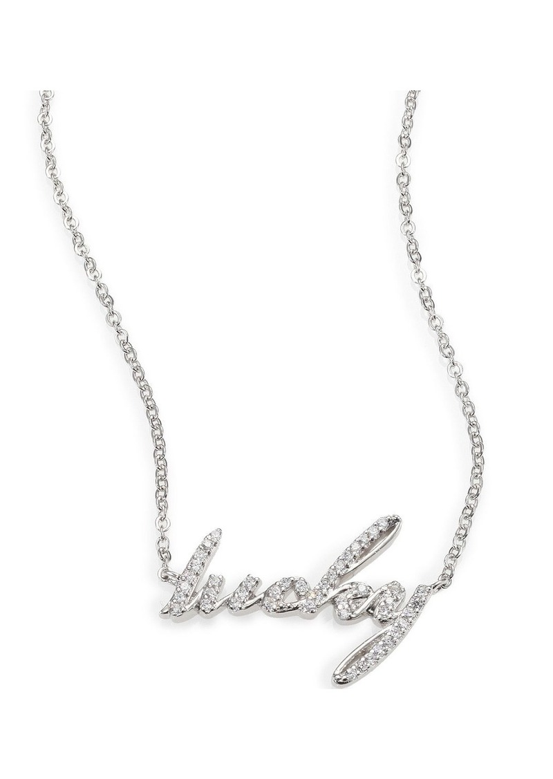 "Adriana Orsini Sterling Silver Pave ""Lucky"" Pendant Necklace"