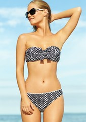 Kenneth Cole Reaction Umbrella-Print Bow-Front Bandeau Bikini Top