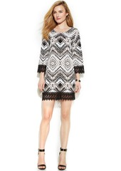 Alfani Crochet-Trim Printed Shift Dress