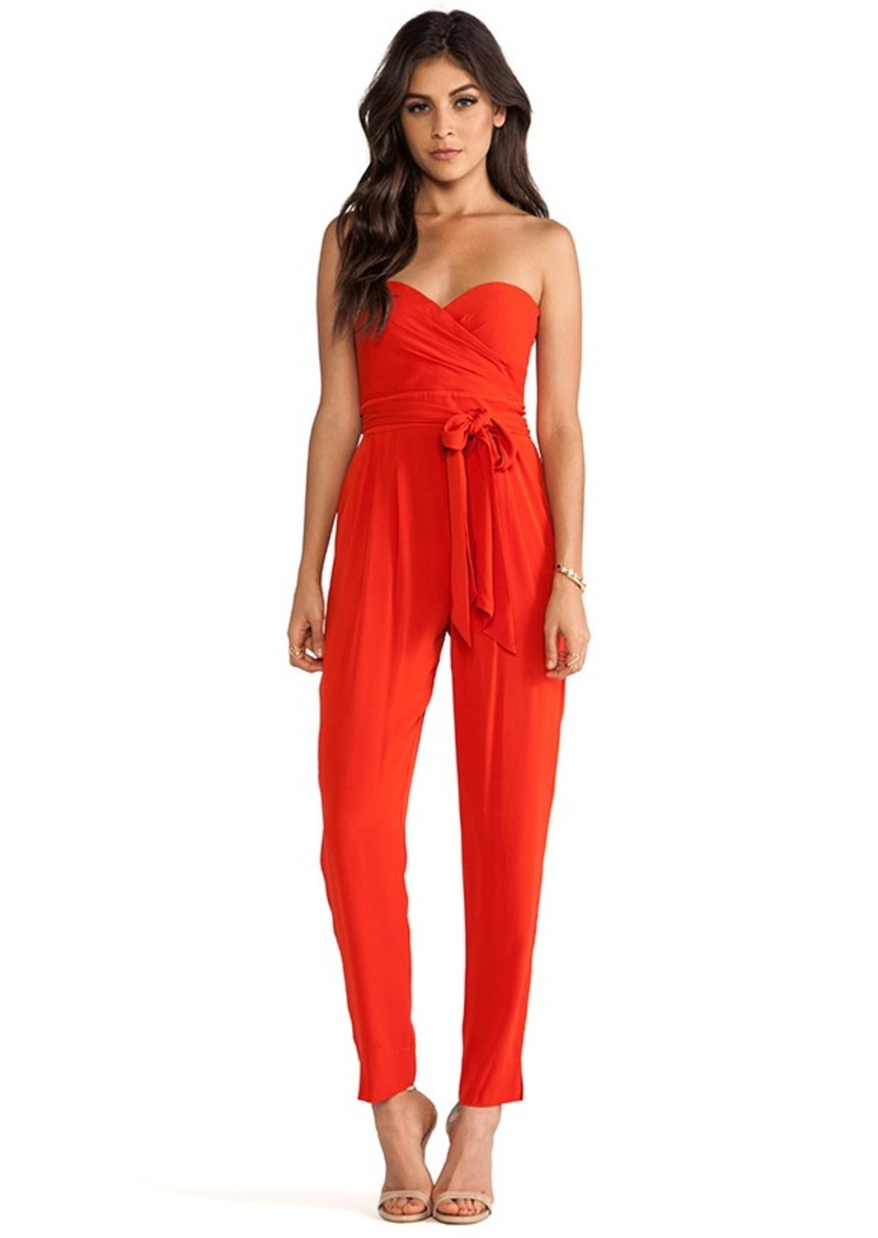 Catherine Malandrino Strapless Jumpsuit in Red