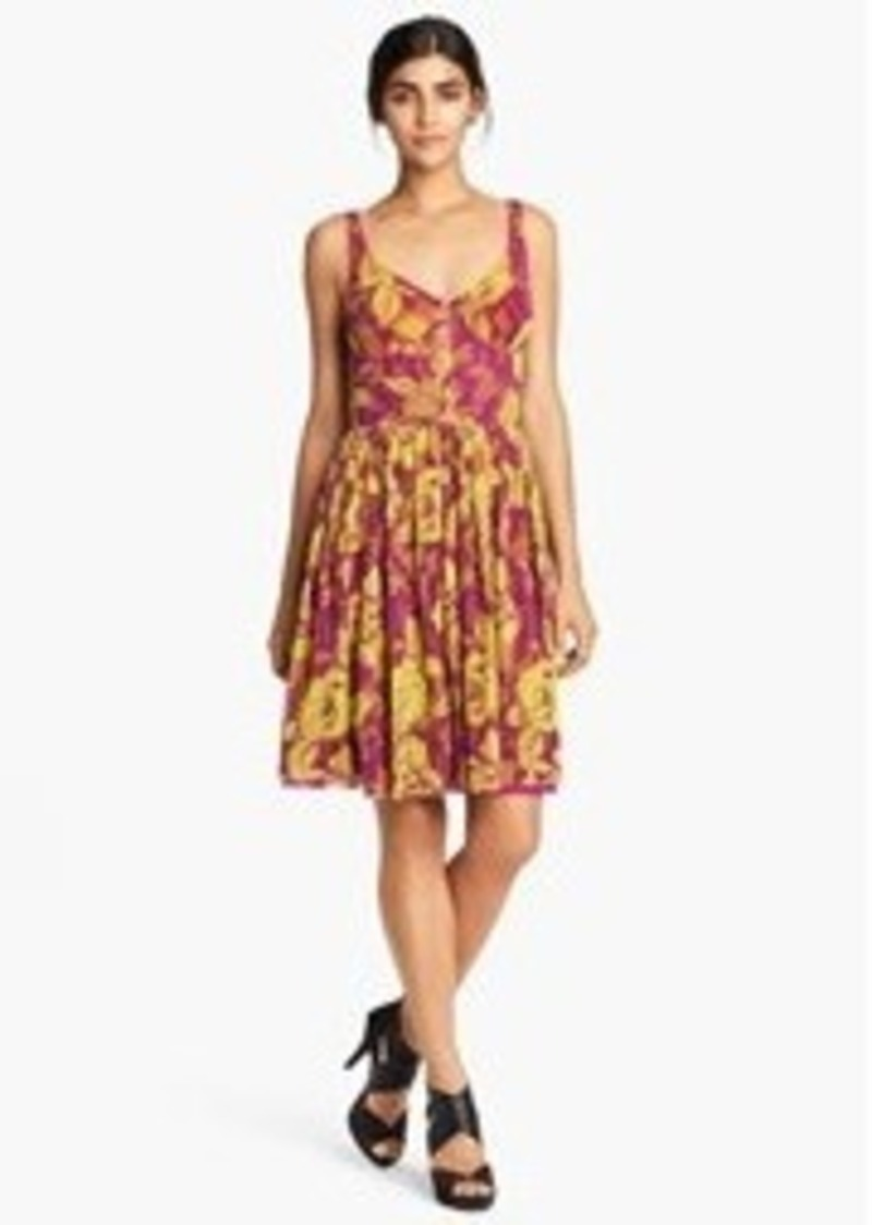 Jean Paul Gaultier Rose Print Pleated Tulle Dress