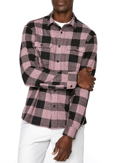 7 Diamonds Clint Stretch Buffalo Check Flannel Button-Up Shirt