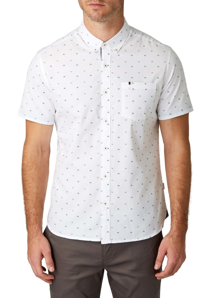 7 Diamonds Dark Star Slim Fit Floral Print Shirt