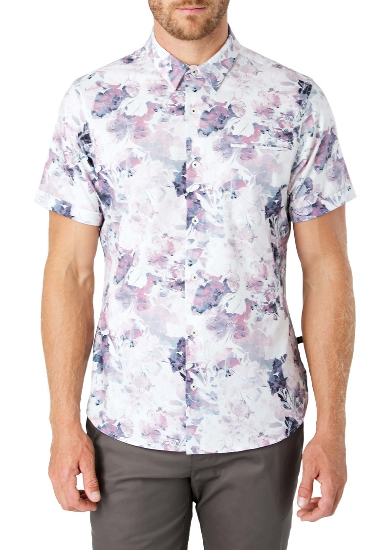 7 Diamonds Dreamland Slim Fit Floral Short Sleeve Button-Up Shirt