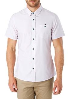 7 Diamonds Feel It Still Slim Fit Diamond Print Short Sleeve Button-Up Shirt