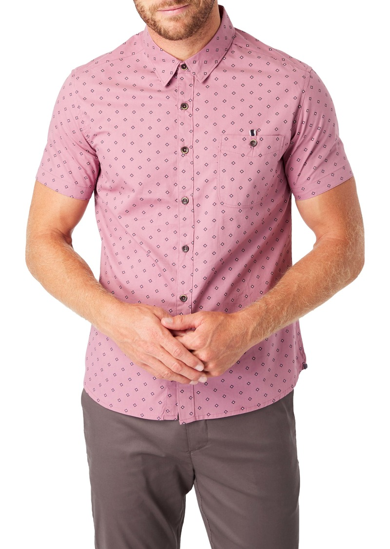 7 Diamonds Flux Slim Fit Short Sleeve Button-Up Shirt