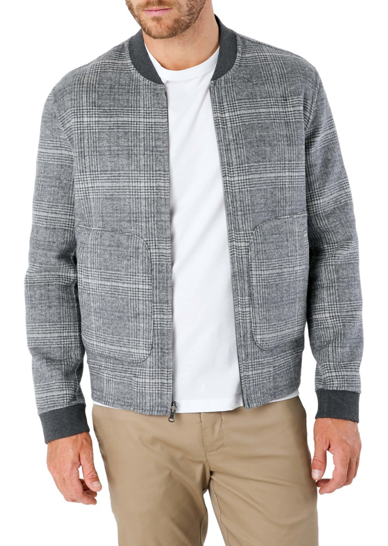 7 Diamonds Glasgow Slim Fit Reversible Wool Blend Bomber Jacket