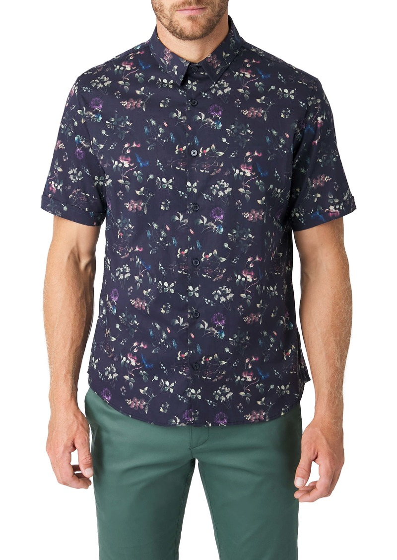 7 Diamonds Hollywood Slim Fit Floral Short Sleeve Button-Up Shirt