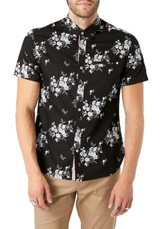 7 Diamonds Maze of Destiny Slim Fit Floral Short Sleeve Button-Up Shirt