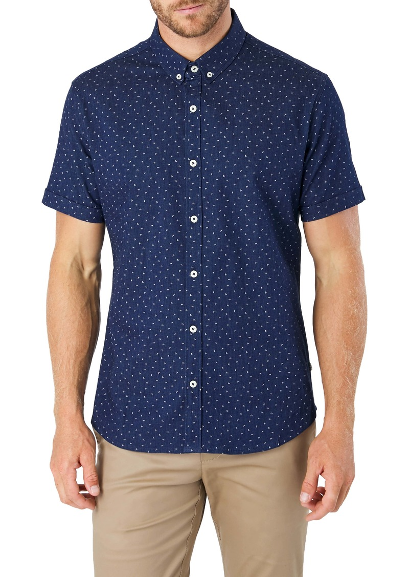 7 Diamonds Night Shift Slim Fit Floral Short Sleeve Button-Down Denim Shirt