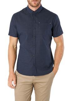 7 Diamonds Saga Slim Fit Plaid Short Sleeve Button-Down Shirt