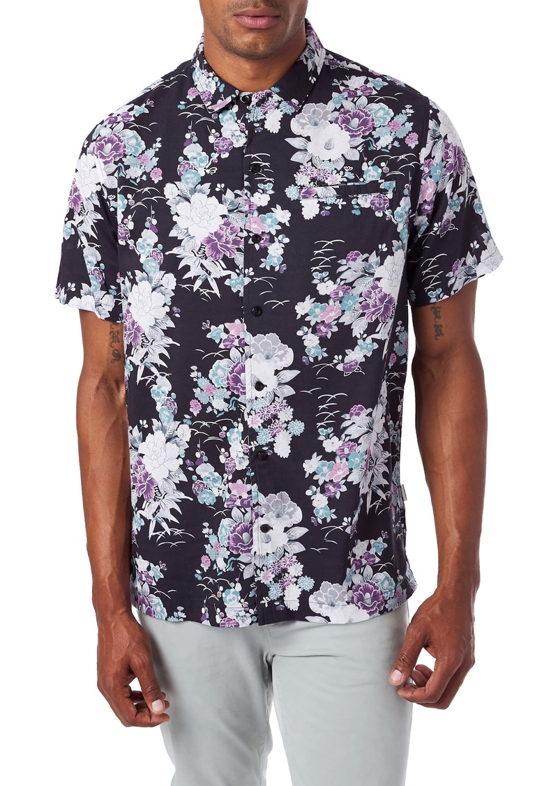 7 Diamonds Slim Fit Floral Short Sleeve Button-Up Sport Shirt