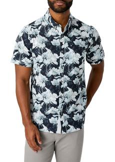 7 Diamonds Sunset Floral Slim Fit Short Sleeve Performance Button-Down Shirt