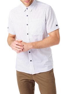 7 Diamonds Test Pilot Slim Fit Short Sleeve Button-Up Sport Shirt