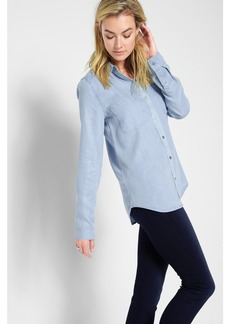 7 For All Mankind 2 Pocket Slim Boyfriend Shirt in Crystal Blue