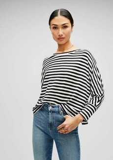 7 For All Mankind 3/4 Sleeve Striped Tee in Black/White