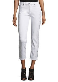 7 For All Mankind Kimmie Embroidered-Outseam Cropped Jeans