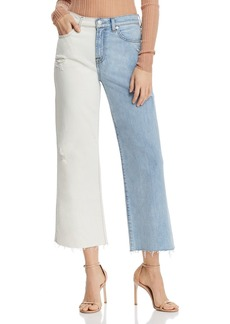7 For All Mankind Alexa Two-Tone Ankle Wide-Leg Jeans in Cloud Sky - 100% Exclusive