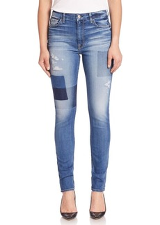 7 For All Mankind Ankle Skinny Distresed Jeans With Shadow Patches