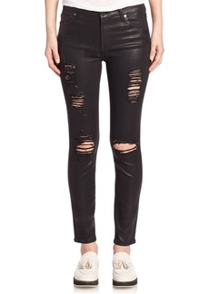 7 For All Mankind Ankle Skinny Distressed Coated Jeans