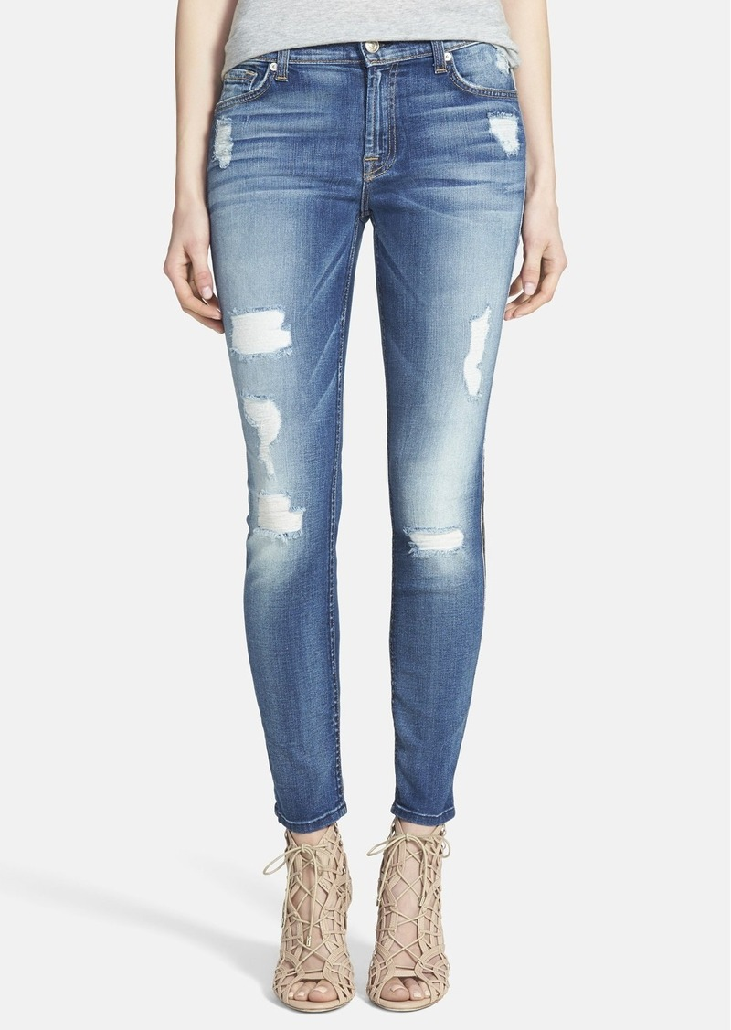 7 for all mankind 7 for all mankind ankle skinny jeans distressed authentic light denim. Black Bedroom Furniture Sets. Home Design Ideas