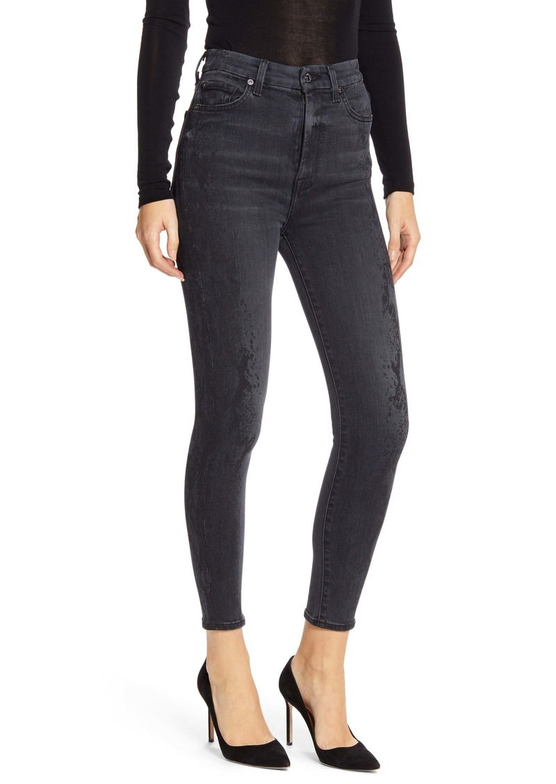7 For All Mankind® Aubrey High Waist Ankle Skinny Jeans (Luxe Vintage Coal Snake)