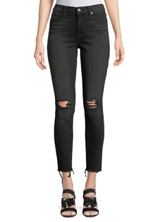 7 For All Mankind Aubrey Straight-Leg Jeans w/ Frayed Hem
