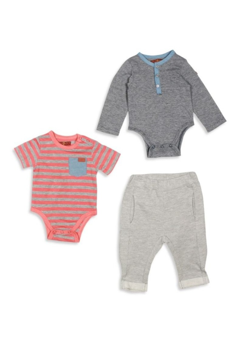 7 For All Mankind Baby's Three-Piece Striped Bodysuit, Heathered Bodysuit & Jogger Pants Set