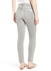 7 For All Mankind® b(air) High Waist Raw Hem Ankle Skinny Jeans (Pure Soft Grey)