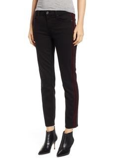 7 For All Mankind® b(air) High Waist Ankle Skinny Jeans (Black with Velvet Stripes)