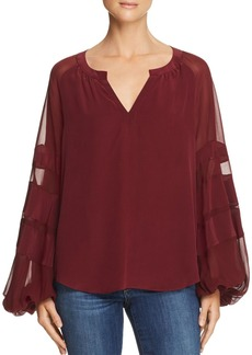 7 For All Mankind Balloon-Sleeve Silk Top